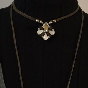 Olive Green Leather Choker Tassel Long Necklace